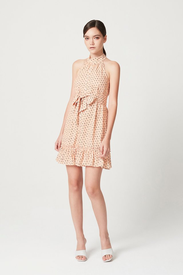 BELTED POLKA DOTS DRESS