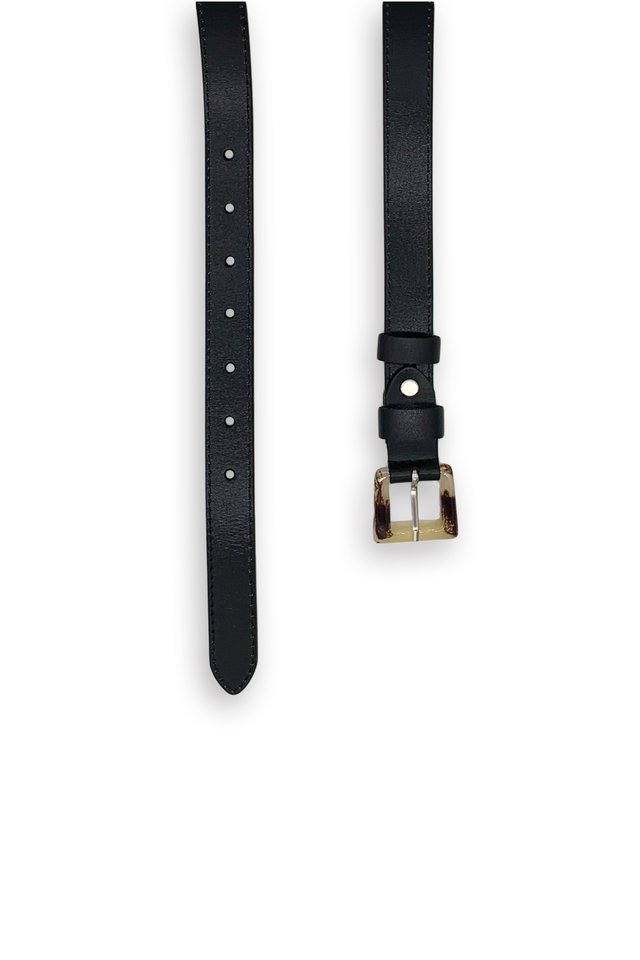 ACRYLIC BUCKLE LEATHER BELT