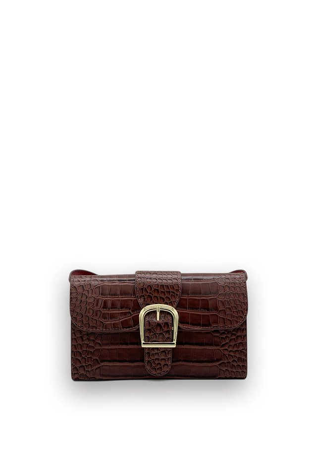 BUCKLE CROC EMBOSSED LEATHER BAG