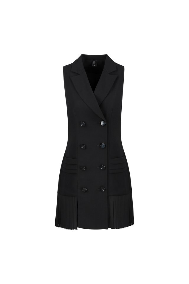 BLAZER DRESS WITH PLEATED HEM