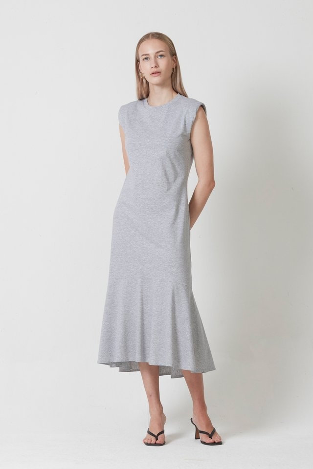 SHOULDER PADDED MIDI DRESS