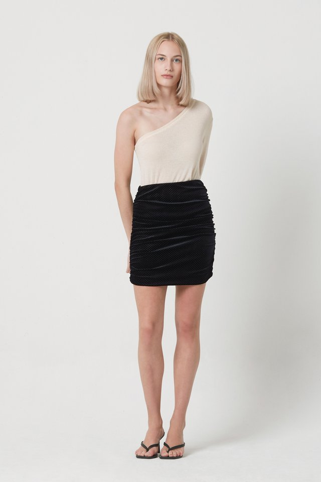 VELOUR RUCHED SKIRT