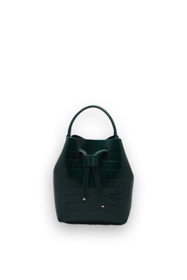 CROC EFFECT LEATHER DRAWSTRING BAG